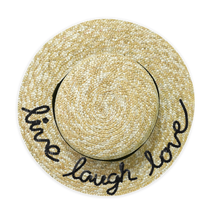 Customized Live Laugh Love Straw Boater Hat | twobakedbuns