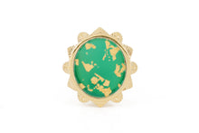 MALKA RING - GREEN ONYX COVERED IN GOLD FOIL
