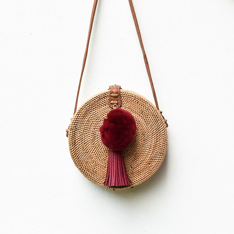Apollo Roundie w/ Wine Red Pompom, Rattan Bag - twobakedbuns
