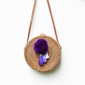 Apollo Roundie w/ Royal Purple Pompom, Rattan Bag - twobakedbuns