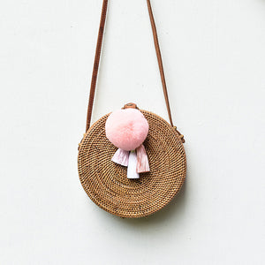 Apollo Roundie w/ Peach Blush Pompom, Rattan Bag - twobakedbuns