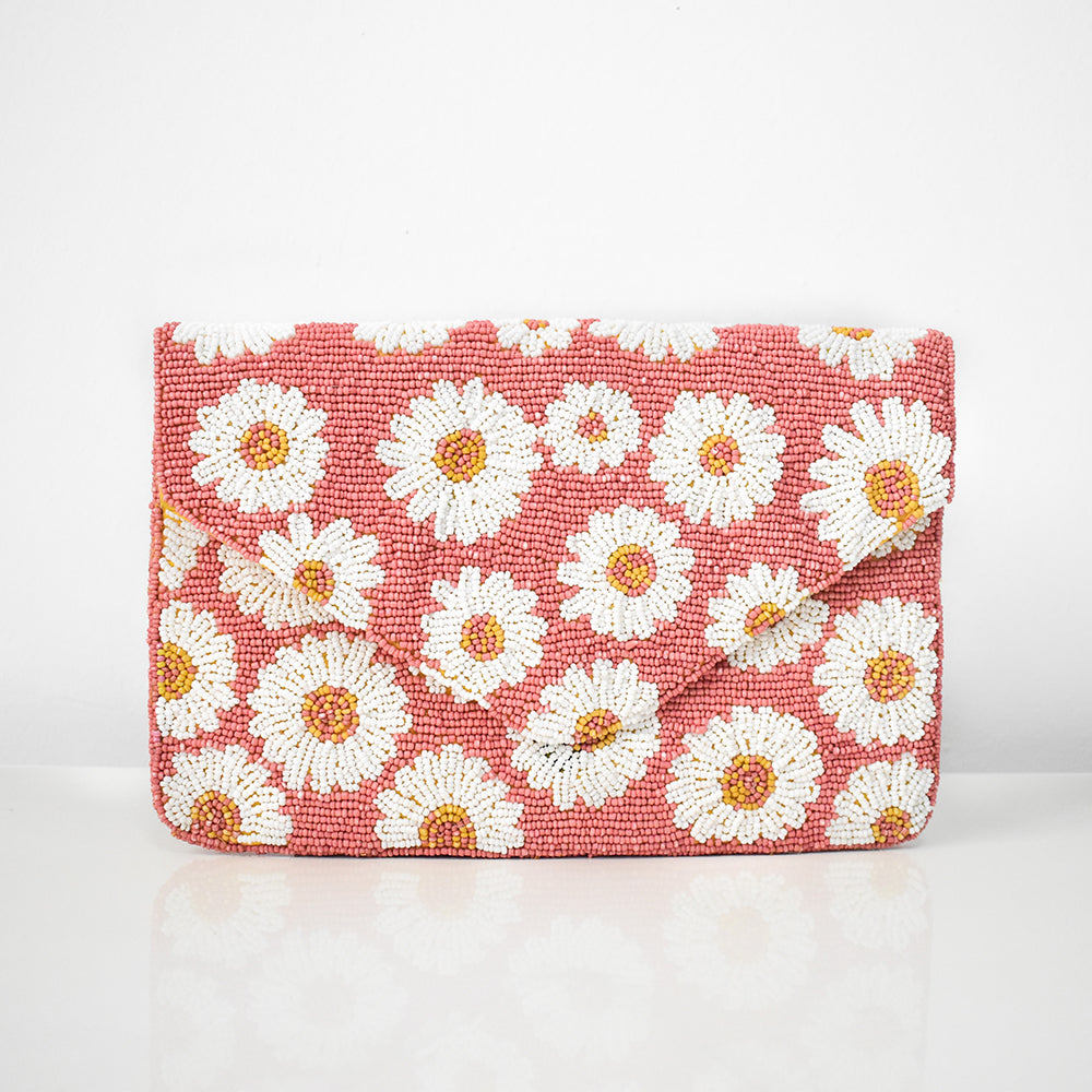 Blushing Daisies Beaded Clutch, clutch - twobakedbuns