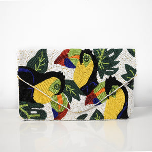 Toucan Party Beaded Clutch, clutch - twobakedbuns