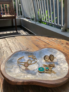 Teak and Oyster Pearl Tray (mini)