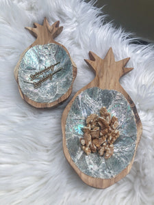 Teak and Abalone Pineapple Display (Silver)