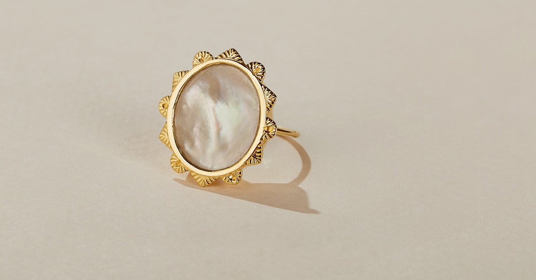 malka ring be maad mother of pearl natural semi-precious stones