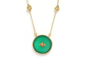 SANJA LONG NECKLACE - GREEN ONYX