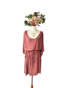 bamboo oversized kaftan midi dress rose nude peach poets and prose natural fabric