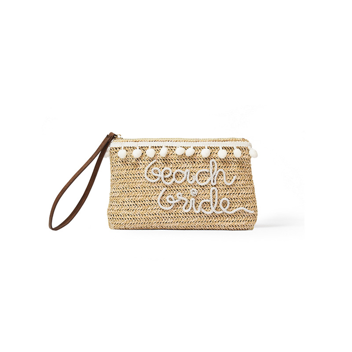 Beach Bride Essentials Pouch, Straw Pouch - twobakedbuns