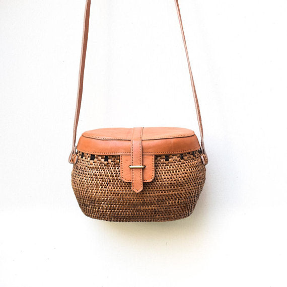 Yuna Leather Rattan Crossbody (Multi), Rattan Bag - twobakedbuns