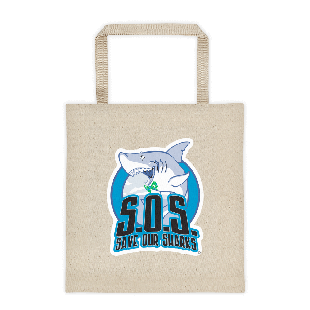 S.O.S. Save Our Sharks Cotton Canvas Tote Bag 12 oz