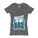 S.O.S. Save Our Sharks Ladies Cotton V-Neck S/S Tee