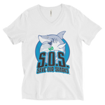 S.O.S Save Our Sharks Unisex Cotton S/S V-Neck Tee