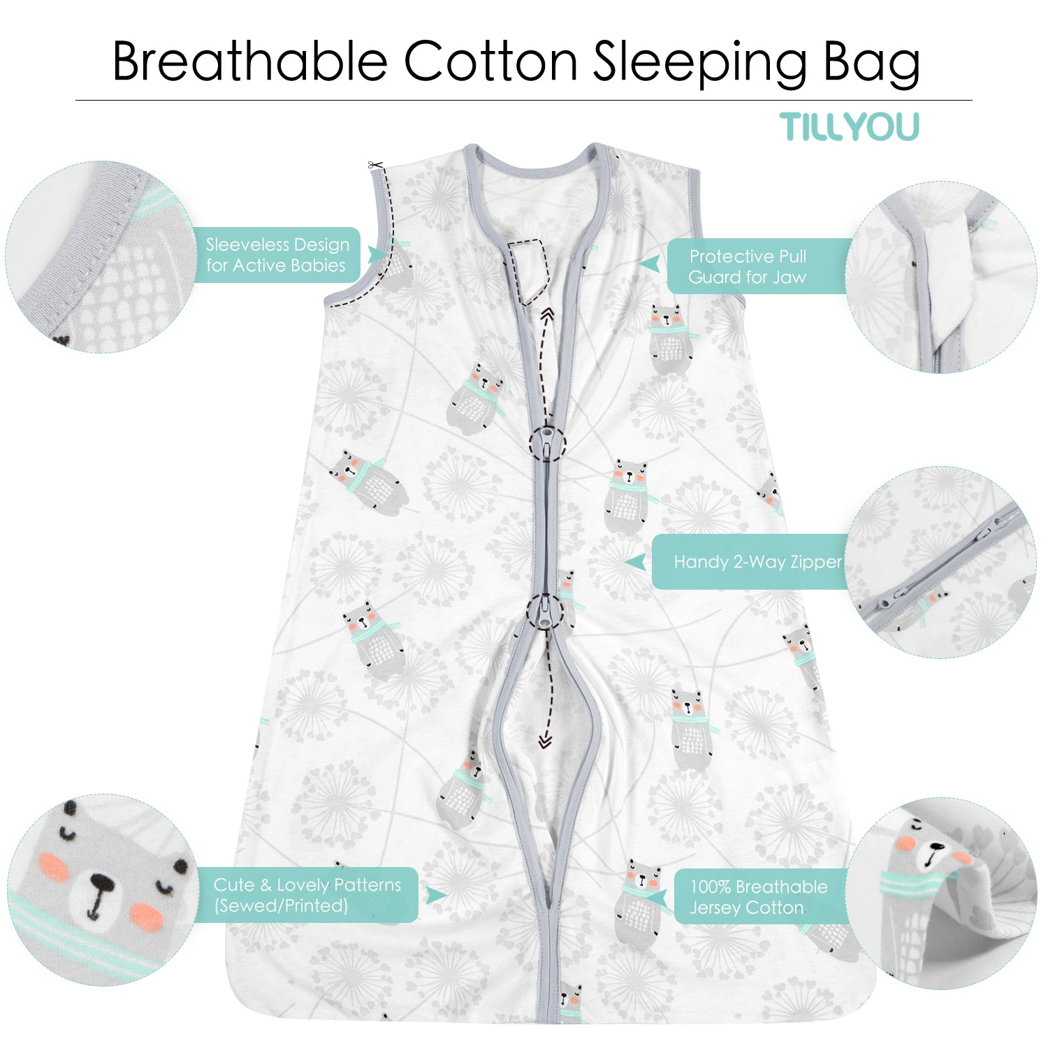 Cotton Wearable blanket / Sleeping bag - Gray Bear