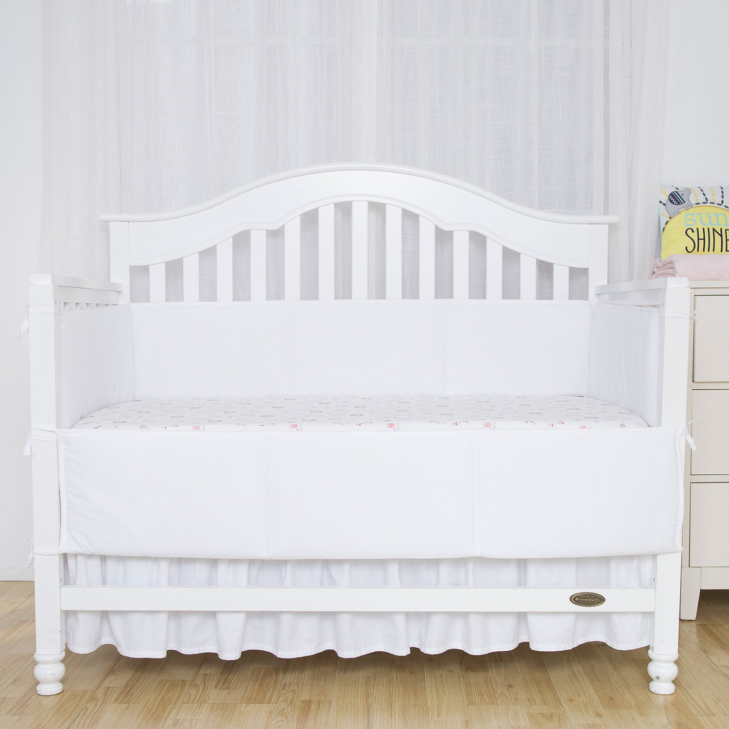 OUT OF STOCK - Cotton Breathable Crib Bumper Pads - White