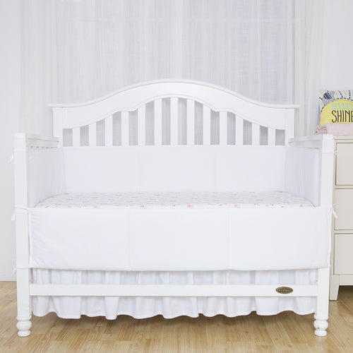 Cotton Breathable Crib Bumper Pads - White