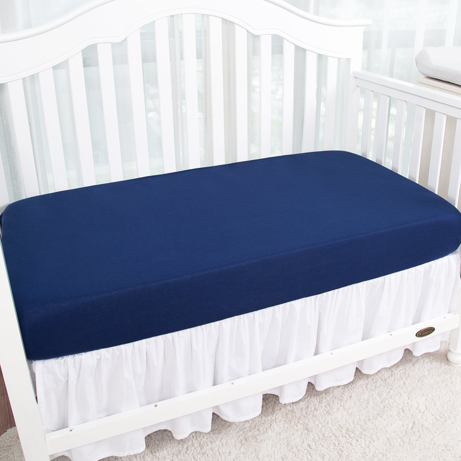 Jersey Knit Crib Sheets 2 PK - Navy & Light Gray