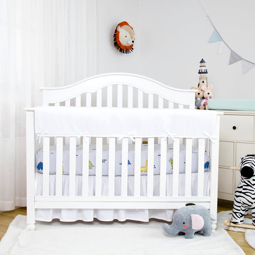 Wide Crib Rail Cover for Long Front Crib Rails - White