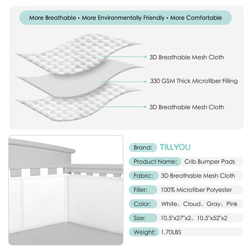 OUT OF STOCK - Baby Crib Bumper Pads Breathable 4-Pieces - White