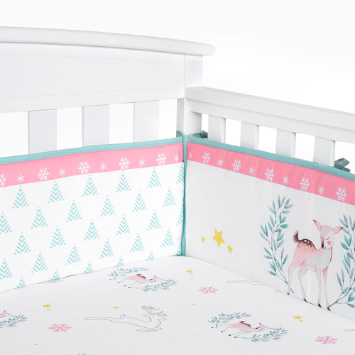OUT OF STOCK - Microfiber Crib Bumper Pad - Mystery Woodland
