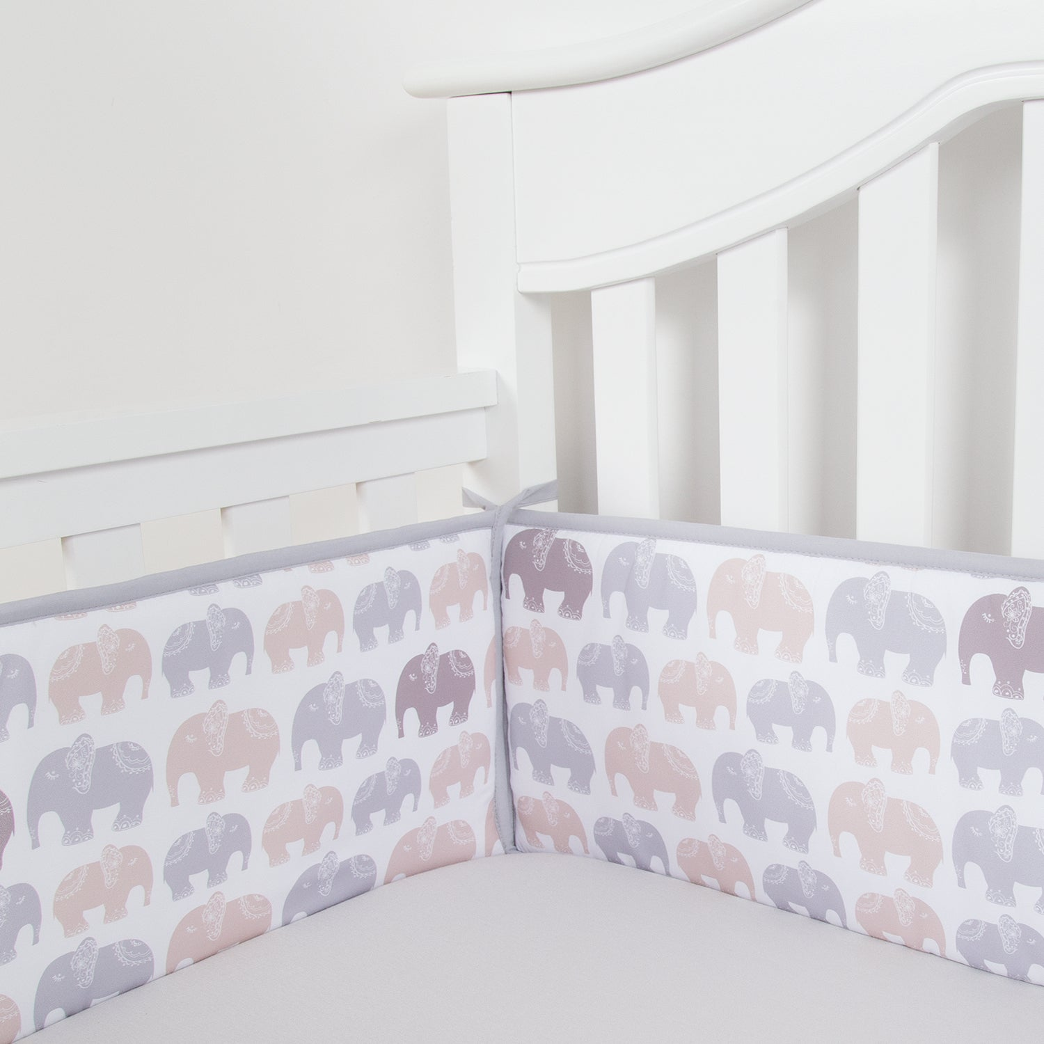Gray Elephant Baby Breathable Crib Bumper Pads For