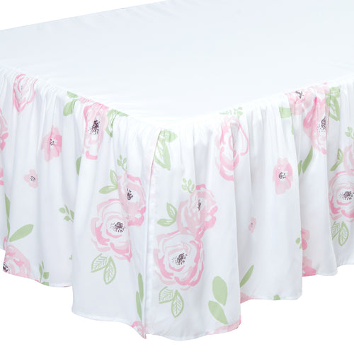 Microfiber Crib Bed Skirt Dust Ruffle - Floral