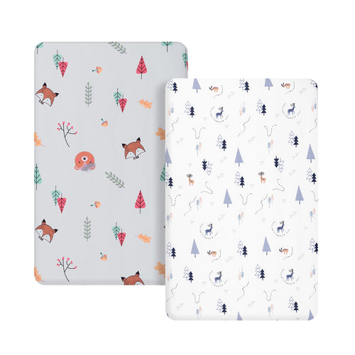 Microfiber Crib Sheet - Woodland Gray & Woodland White