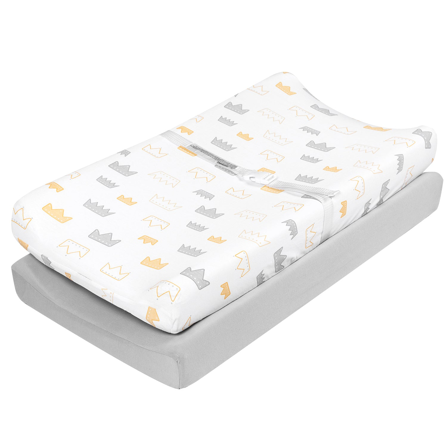 Jersey Cotton Changing Pad Cover Set - Crown&Gray