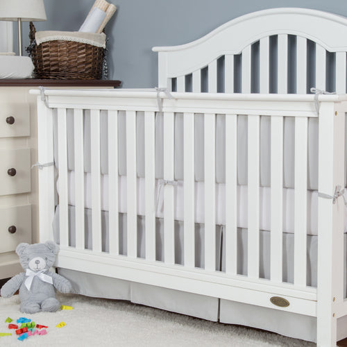 Cotton Breathable Crib Bumper Pads -Pale Gray