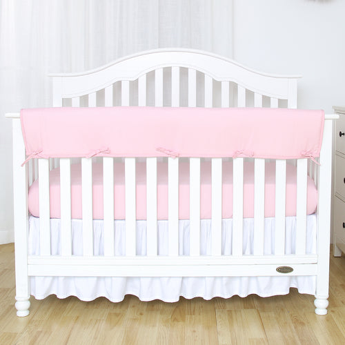 Wide Crib Rail Cover for Long Front Crib Rails - Lt Pink/White