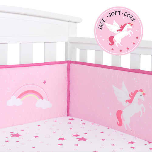 OUT OF STOCK - Microfiber Crib Bumper Pad - Pink Unicorn
