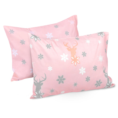 OUT OF STOCK - Microfiber Toddler Travel Pillowcases 2 PK -  Snowflakes & Reindeer