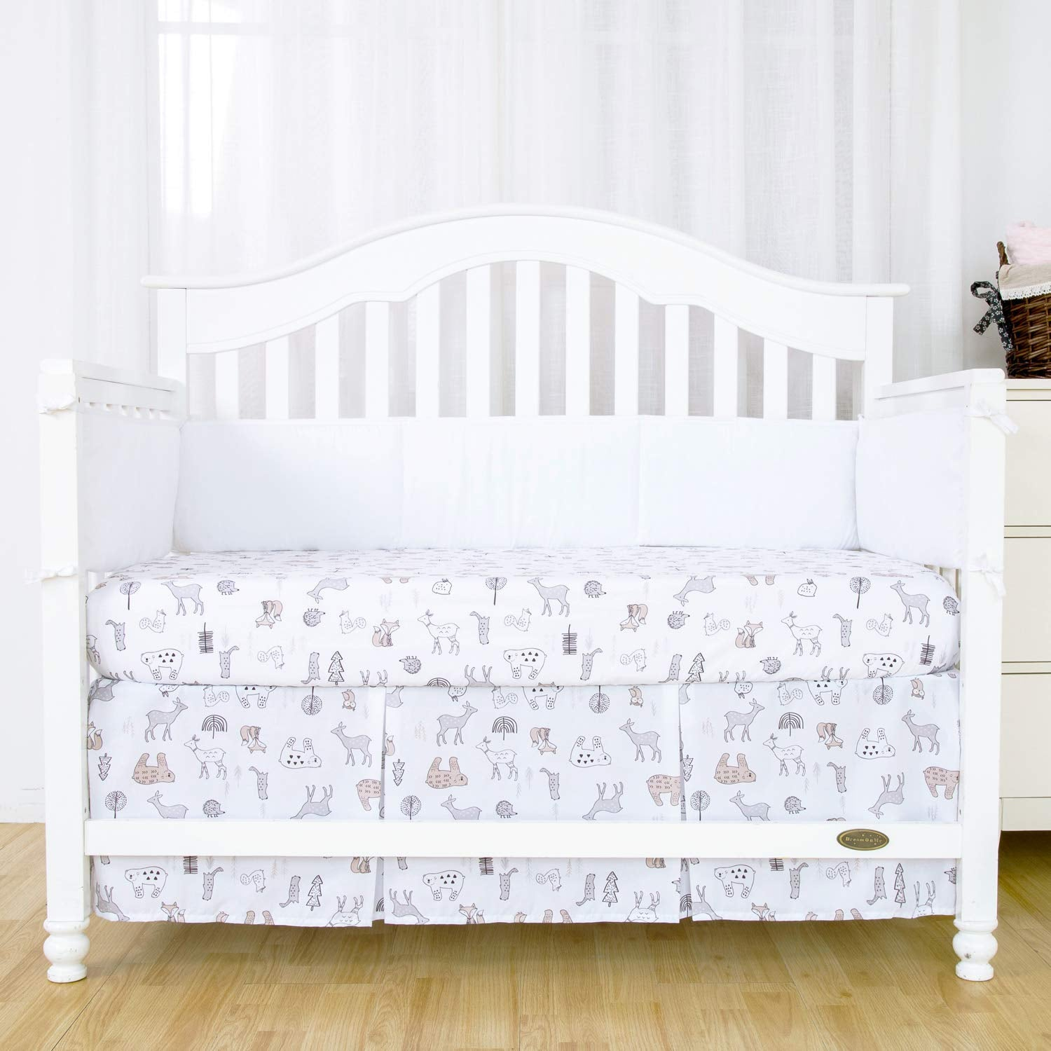 Out Of Stock - Microfiber Pleated Crib Bed Skirt - Woodland
