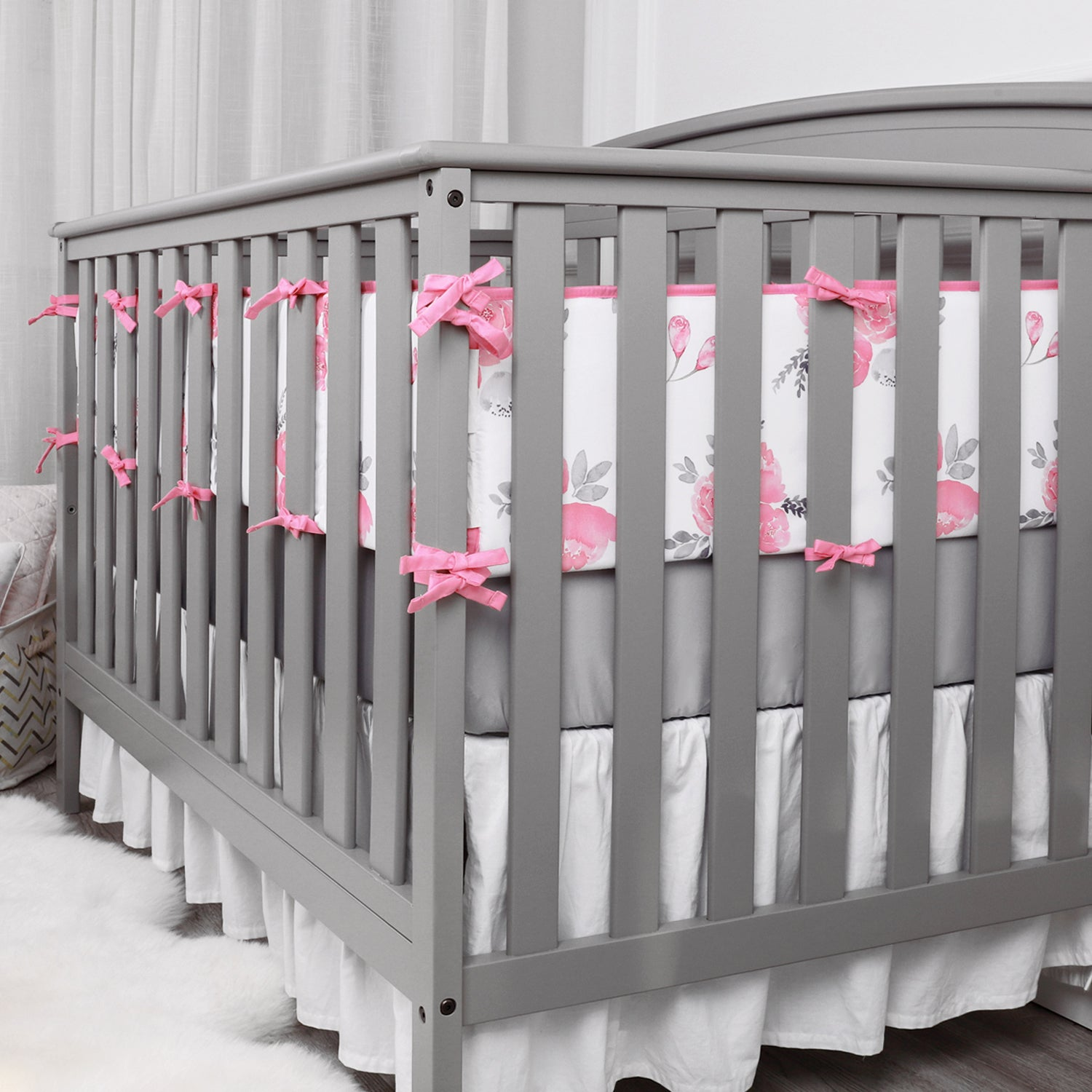 OUT OF STOCK - Microfiber Crib Bumper Pads - Watercolor Flowers