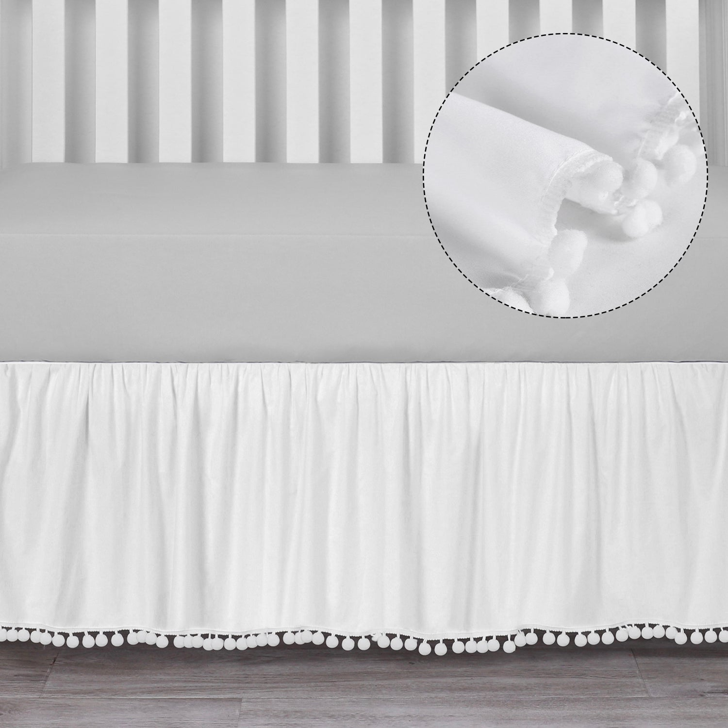 Microfiber Ruffled Crib Skirt with Pompoms - White