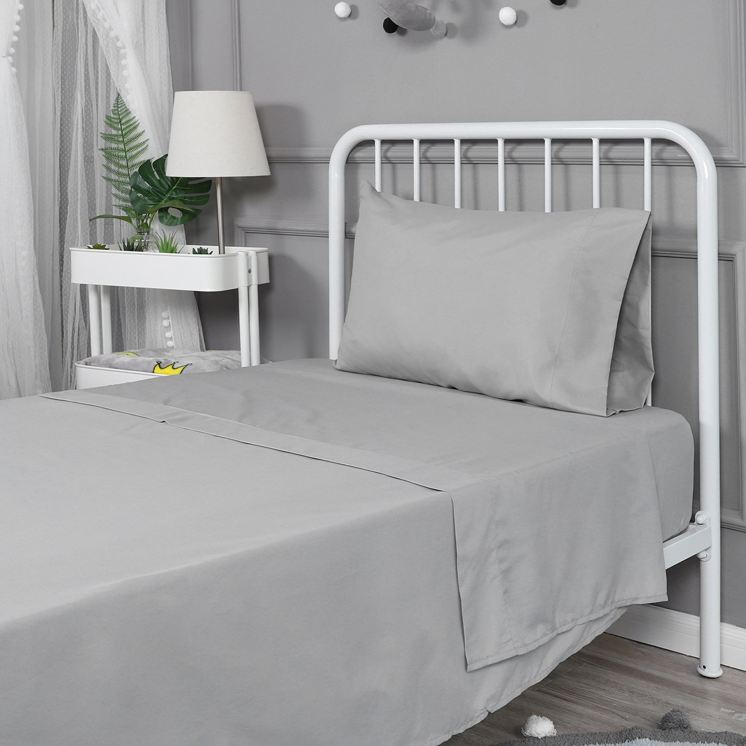 Soft Microfiber Twin Bed Sheets 3-Piece Set - Grey