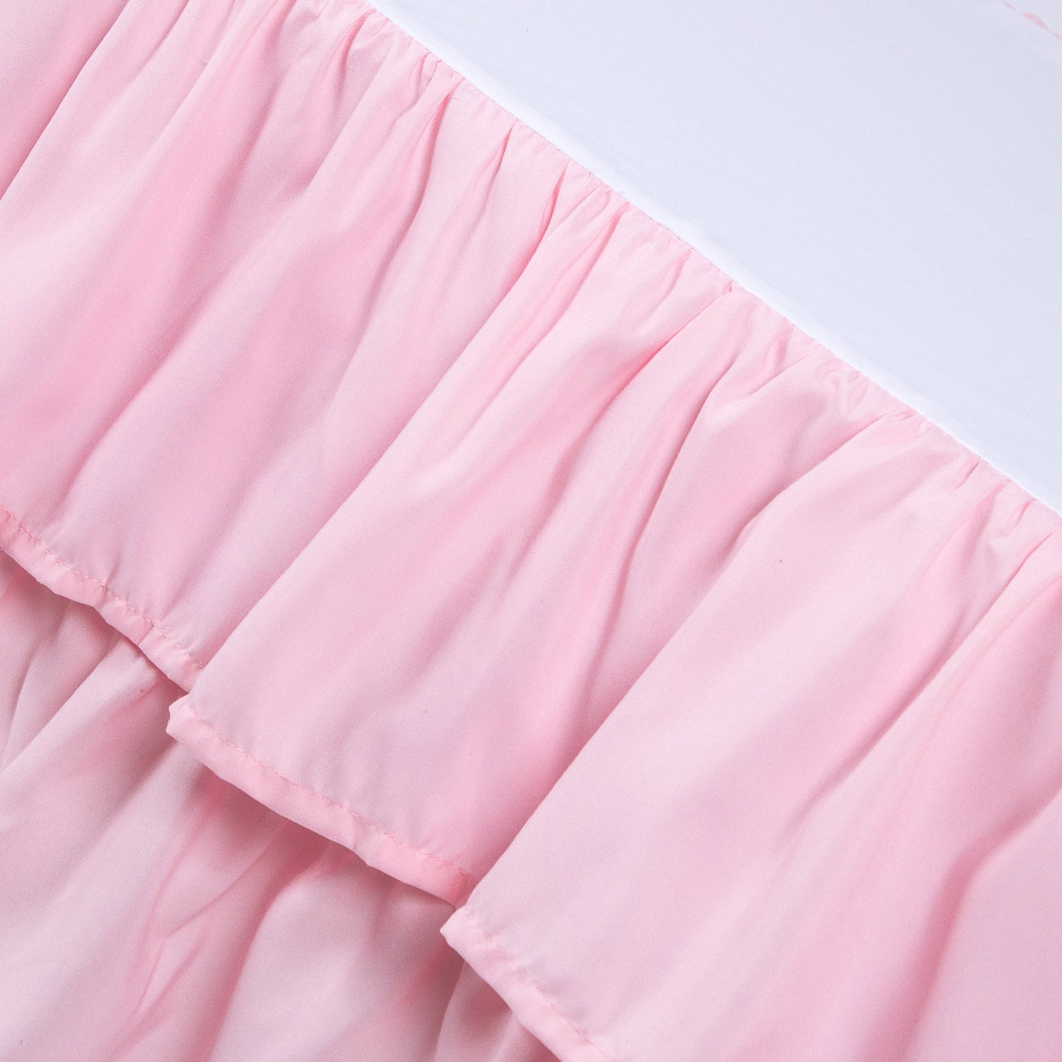 Microfiber Crib Skirt Dust Ruffle Double Layer - 3 colors