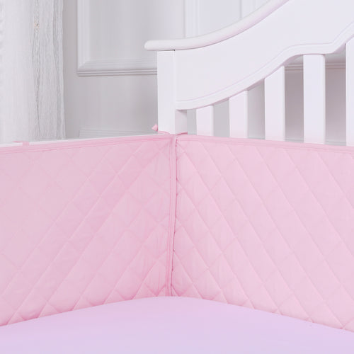 Microfiber Crib Bumper Quilted Pad - Pink