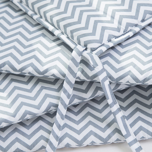OUT OF STOCK - Cotton Breathable Crib Bumper Pads - Gray Chevron