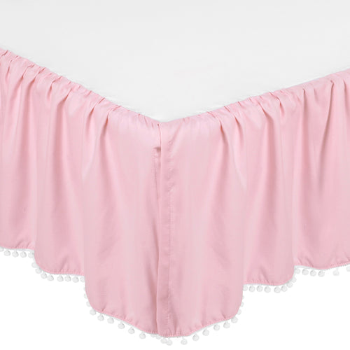Microfiber Ruffled Crib Skirt with Pompoms - Pink