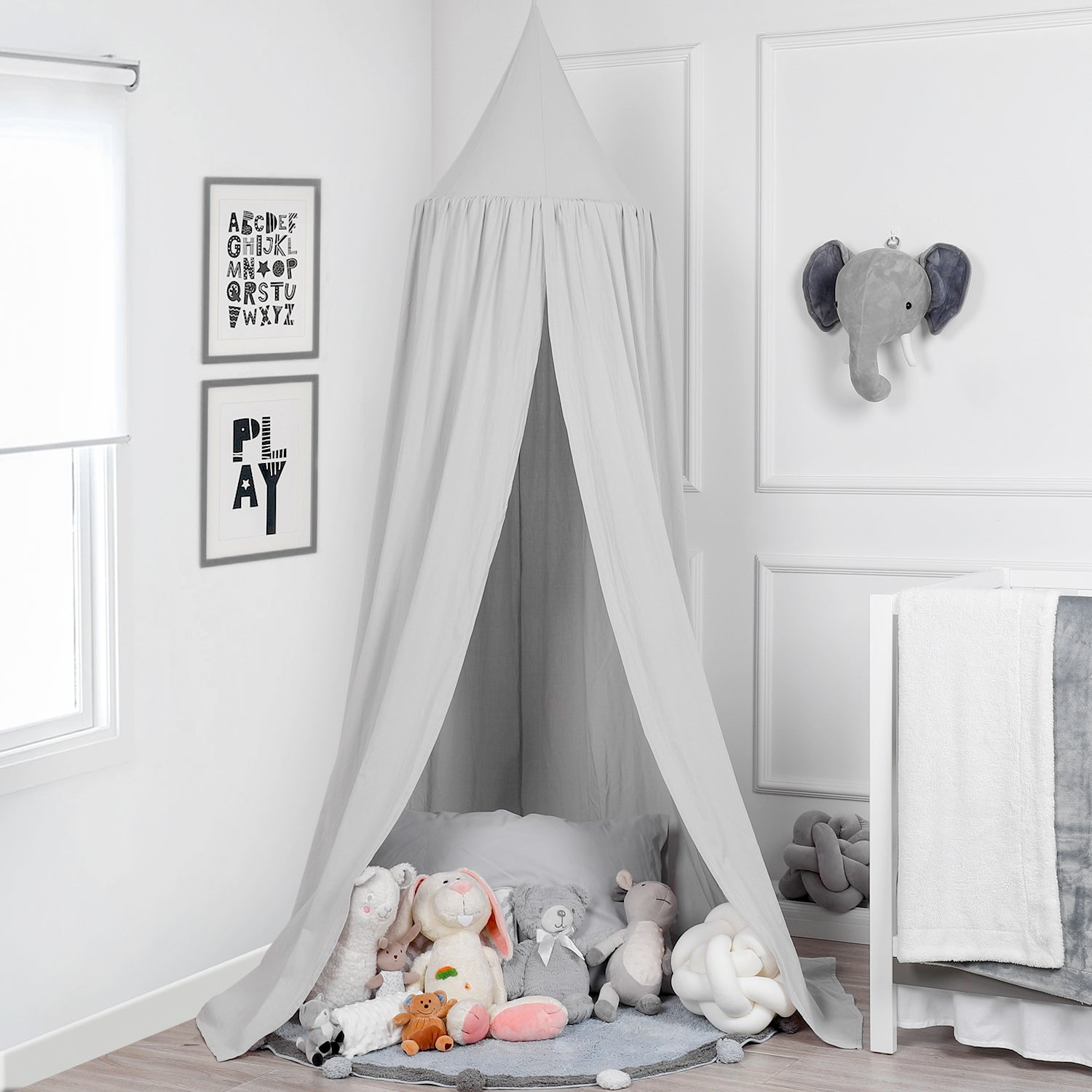 Baby Bed Canopy with Pompoms, 100% Cotton Canopy for Crib and Toddler Bed - 3 Color