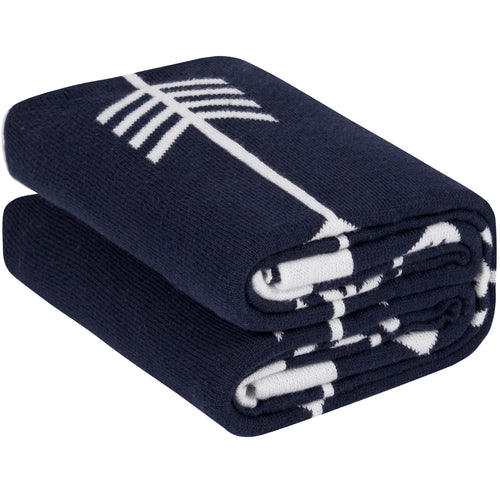 100% Cotton Sweater Knit Baby Blanket - Navy Arrows