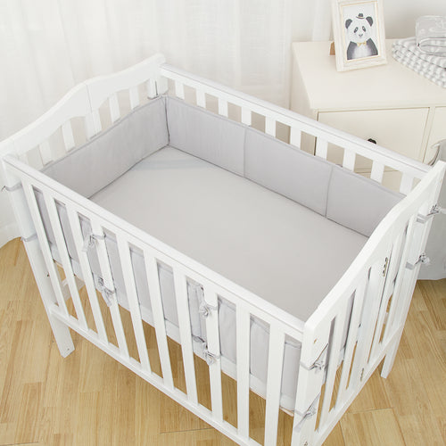 1-Piece Cotton Breathable Mini Crib Bumper - Gray