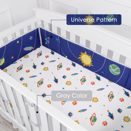 OUT OF STOCK - Microfiber Crib Bumper Pad - Space Travel