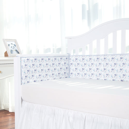 Cotton Breathable Crib Bumper Pads - Whales