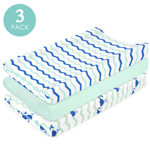 Jersey Knit Thick Changing Pad Cover Set - Navy Whale & Chevron