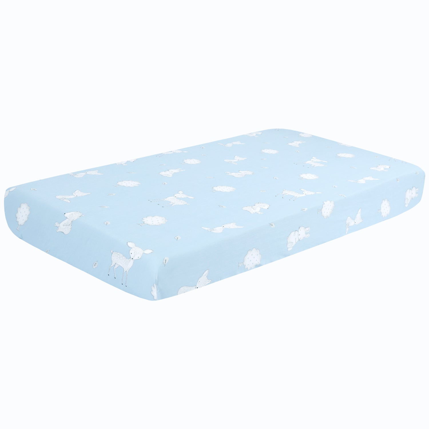 OUT OF STOCK - 100% Cotton Crib Sheets 2PK - Bamboo-blue White Woodland
