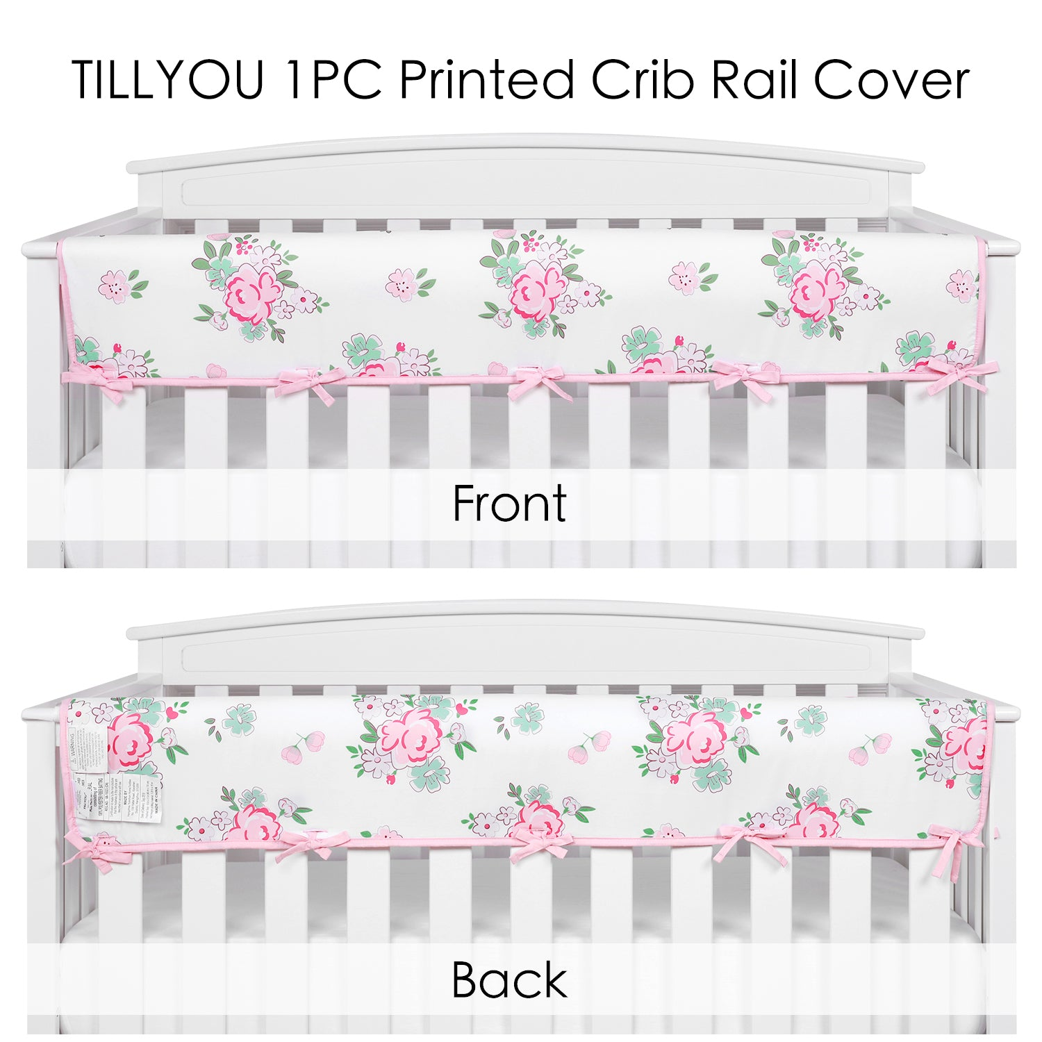 OUT OF STOCK - Wide Crib Rail Cover for Long Front Crib Rails - Pink Floral