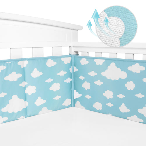 Baby Crib Bumper Pads Breathable 4-Pieces - Cloud