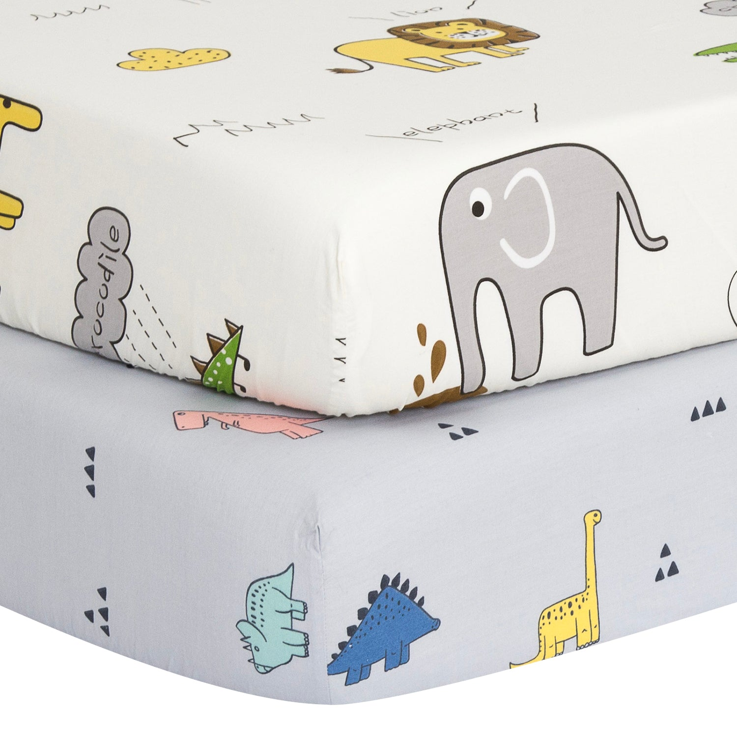 100% Cotton Crib Sheets 2PK -  White Dinosaurs & Animals Party